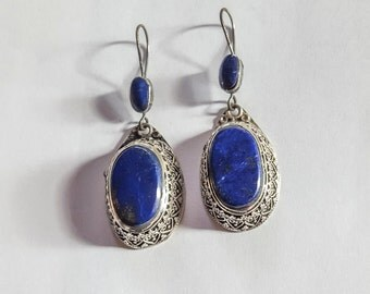 Silver and lapis Afghan earrings