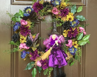 Witch wreath, purple, halloween witch wreath, floral