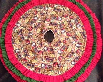 Triple ruffled nativity tree skirt
