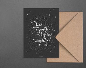 Weihnachtskarte Dear Santa No. 4 / Define, naughty, Gold, Postcard, Greeting Card, Present, Christmas, Typography, Artprint