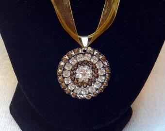 Flower Necklace, Unique Swarovski Topaz Rhinestone Heart Pendant Charm, Bling Necklace