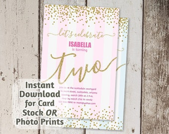2nd Birthday Invitation - Gold Glitter for Second Birthday Party - Pink Girl / Blue Boy - Digital File Instant Download