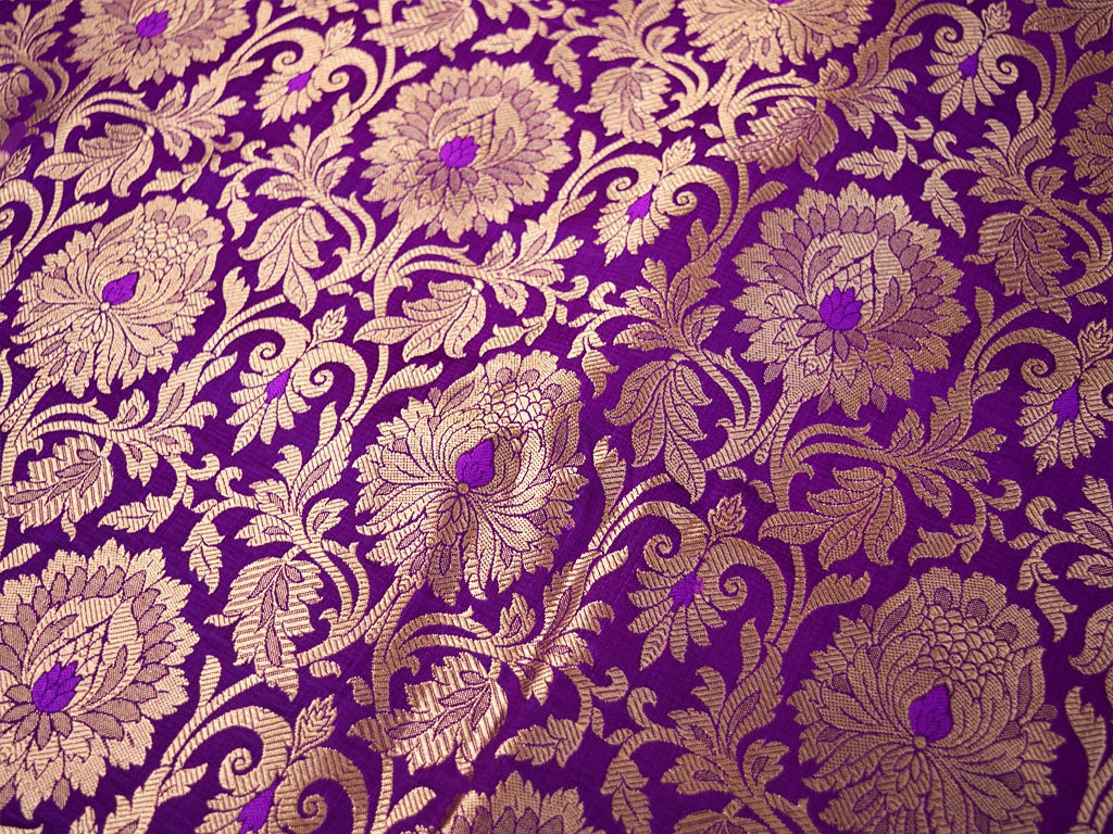 Indian Silk Brocade Fabric Banarasi Silk Brocade Fabric