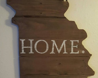 Reclaimed wood Missouri Home. Silhouette wall hanging, rustic, primitive decor, repurposed wood, shabby-chic, farmhouse-style decor