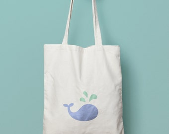 Tote bag in cotton whale