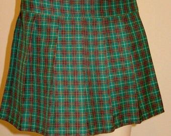 NewFoundland Tartan Plaid Pleated Skirt~Green Red Brown Plaid ~Cosplay Pleated green Plaid SKirt~SMall to Plus Size  ~Custom Make@sohoskirts