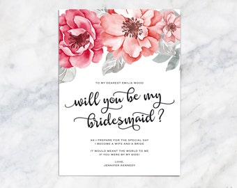 Will You Be My Bridesmaid Card Personalized Matron of Honor, Maid of Honor, Flower Girl Ask Your Bridesmaid