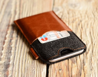 iPhone 6 case Leather iPhone 6s case Felt phone cover iPhone case with credit card space iPhone 7 sleeve Gift