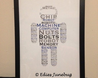 Robot Word Collage, Boys Birthday Gift, Bedroom Decor, Childs Wall Art, Personalised Keepsake, Robotic Art, Word Cloud,