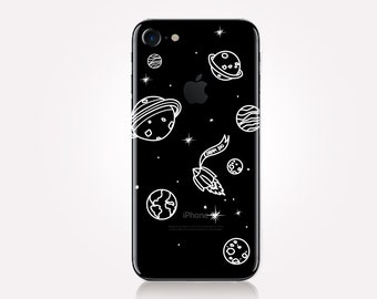 Planets Clear Phone Case - Clear Case - For iPhone 8, 8 Plus, X, iPhone 7 Plus, 7, SE, 5, 6S Plus, 6S,6 Plus, Samsung S8,S8 Plus,Transparent