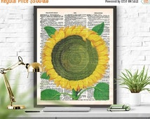 SALE Sunflower Dictionary Page Art Print Yellow Sunflower  Printable Wall Decor Art  Poster Sunflower Old Illustration Home Decor Hanging De
