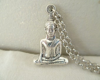 Buddha necklace,sitting buddha,buddha jewellery,gift,silver buddha,silver necklace, long necklace,buddhist jewelry,buddha pendant