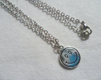 Smiley face necklace,emoji necklace,silver face necklace,happy face,emoji jewellery,smiling face,smiley face jewelry,gift,handmade,simple
