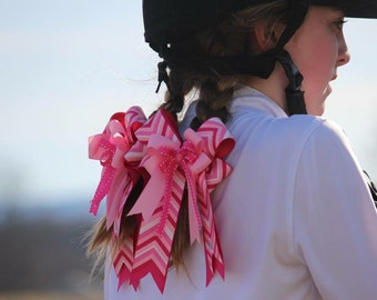 Pink Zig Zag Horse Show Bows