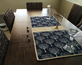 Hanukkah quilted table runner
