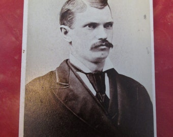 Antique Civil War Era CDV photograph Man with Mustache / De. L. Sackett, Photographer