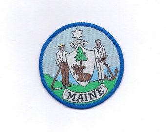 Vintage Maine State Flag/Seal - Biker Patch