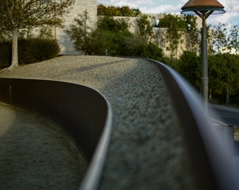 California, Los Angeles, The Getty, Abstract, Lamp, Tree, Clouds, Rocks, Garden, Optical Illusion