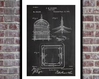 Bird Cage Patent, Bird Cage Poster, Bird Cage Blueprint,  Bird Cage Print, Bird Cage Art, Bird Cage Decor