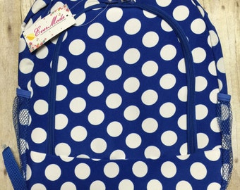 Personalized Blue Polka Dot Print Book Bag , Monogram Canvas Book bag, Personalized Backpack,  Kids Backpack, Personalized Book bag