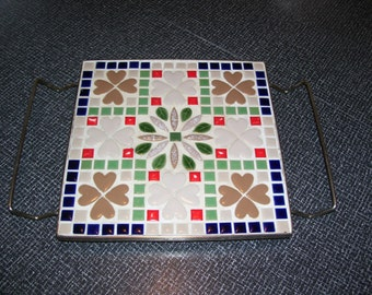 Mid Century Mosaic Trivet with Handles Vintage