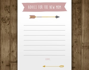 Baby Shower Advice Card - Girls Adventure Arrows