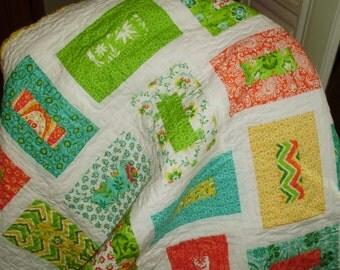 Patchwork Cot Quilt/ Keyhole Pattern/ Crib / Lap / Play Mat. Moda Folklore
