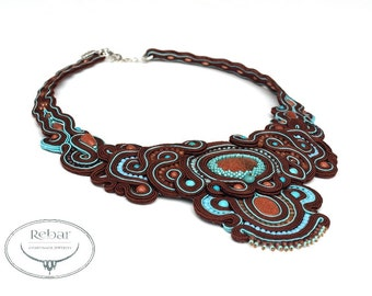 Unique Big Soutache  Necklace,  Handmade Jewelry, Soutache Jewelry, Statement Necklace, Soutache Collar Choker, Dark Chocolate