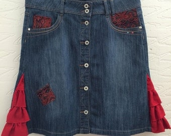 Upcycled denim skirt. Eco chic. OOAK, Red frills, buttons & studs, denim skirt, size 14 recycled denim.