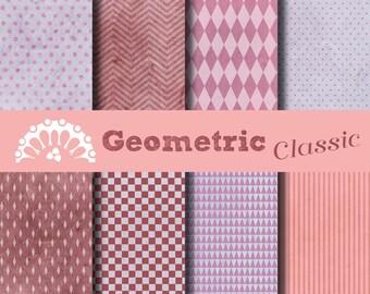Paper digital geometric classic pink