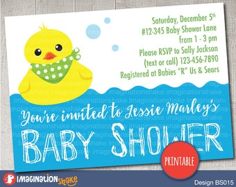 Personalized Rubber Ducky Baby Boy Shower Invitation PRINTABLE / Blue Baby Ducky Shower Invite / DIY Baby Shower / Rubber Duck Baby Shower