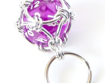Bright Purple Dice Keychain, Caged Chainmaille D20 Geek Keyring, Father's Day Gift, Geek Gift, Dungeons and Dragons, DnD, RPG Accessories