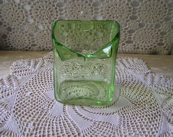 Vintage Green Clear Glass Wall Vase, Housewarming Gift, Christmas Gift, Home Decor,