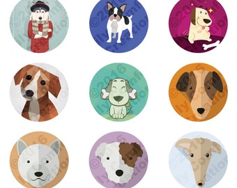 Digital Collage Sheet, Dog collage sheet, 1 inch circle, dogs, pendants  sheets, jewelry sheets, magnet collage , 4 x 6 , bottle cap images