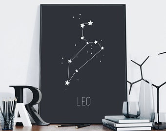 Leo Print — Leo Zodiac Print Leo Constellation Printable Zodiac Sign Horoscope Astrology Printable Wall Art Nursery Poster