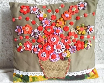 UPCYCLED Multi-Color Flower Vase Decorative Pillow Cover (oranges and lilac)