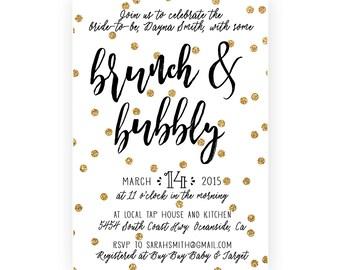 Bridal Shower Brunch Invitation, Brunch and Bubbly, Gold Polka Dot, Printable (501)