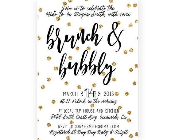 bridal shower brunch einladung brunch und spritzig gold, Einladung