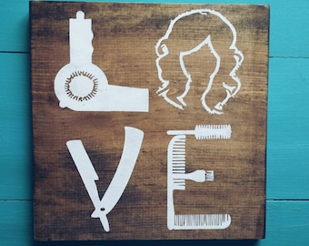 Hair stylist LOVE sign