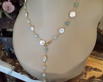Freshwater coin pearl and Aquamarine necklace