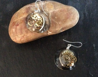Steampunk Earrings - Watch Parts Set in Acylic