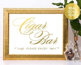 Wedding Cigar Bar Signs in REAL Gold Foil / Wedding Cigar Bar Signs / Wedding Reception Cigar Signs / Gold Foil Wedding Signs / Lily Theme