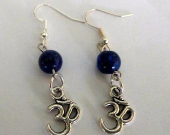 ohm lapis lazuli earrings