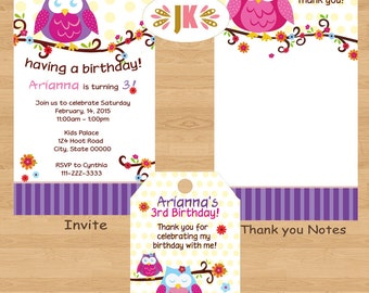 Owl Pink and Purple invitations Birthday or Baby Shower Printed Invitations