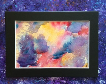 Colorful Original Watercolor Abstract Painting