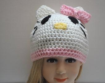 Crochet Hello Kitty Hat, Hello Kitty Beanie,