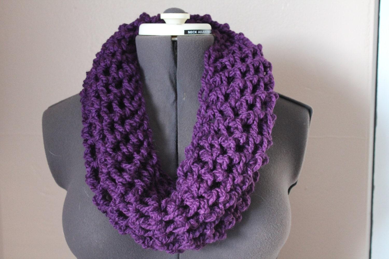 Purple Cozy Cowl scarf Finger Crochet