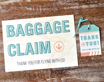 Travel Theme Bridal Shower Thank You Tags and Sign, DIY Printable File