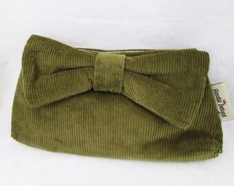 Green Corduroy Bowtie Clutch