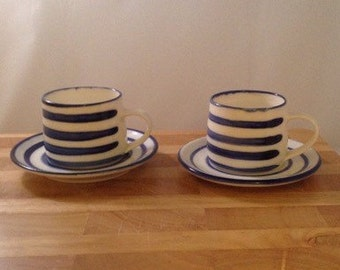 Two Handmade Porcelain Espresso Cups and Saucers.